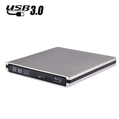 SNY External Blu-ray DVD Drive 3D for Laptops, USB 3.0 Portable, 3D Ultra-Thin Bluray CD/DVD/- RW Disc Drive Burner,Compatible with Desktop Laptops, Windows XP/7/8/10/MAC OS/Win Vista-Silver