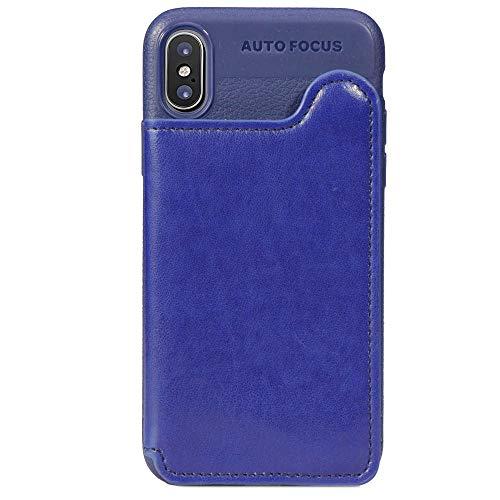 Suhctup Coque Compatible pour Samsung Galaxy J6 Prime/J6 Plus Silicone Fine et Légèr Portefeuille Etui Housse de Protection avec Porte-Carte de Crédit en Cuir,arrière magnétique Cover(Bleu)