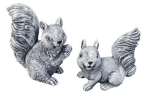 Steinfigur 2er Set Eichhörnchen, Frost- und wetterfest bis -30°C, massiver Steinguss