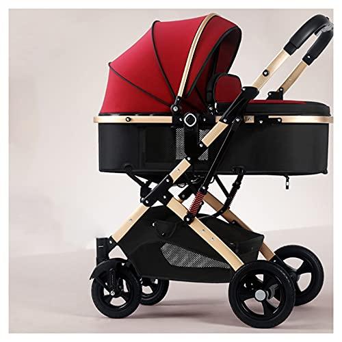 Cochecito de bebé para recién nacido, 2 en 1, capazo convertible de paisaje alto, reversible para cochecito de bebé y niño pequeño, cubierta de lluvia (color: rojo vino)