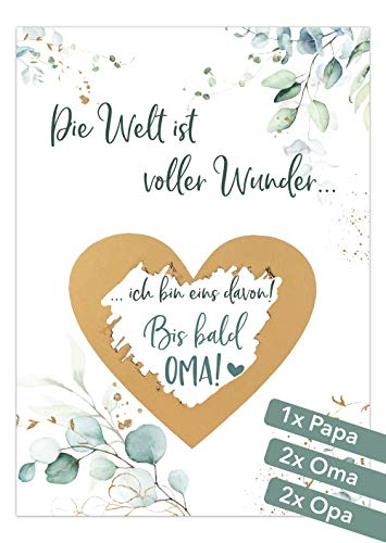 JoliCoon Rubbelkarten Eukalyptus - Deine Schwangerschaft verkünden - Du wirst Papa Oma Opa - Wir bekommen ein Baby
