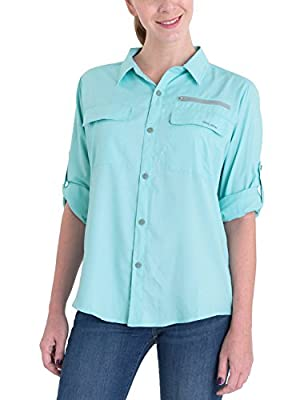 BALEAF Women's Lightweight Quick Dry UPF 50+ Sun ProtectionLong Sleeve Shirt Breathale Fishing Shirts Aqua XL