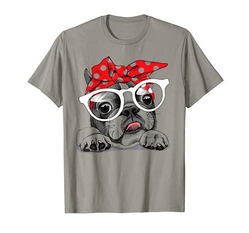 Cute French Bulldog Colorful Headband And Glasses T-Shirt