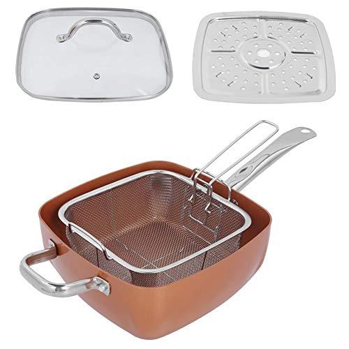 Oumefar Cacerola Varios usos Estructura de Aluminio 4 Piezas/Juego Sartén Cuadrada Ollas cuadradas Deep-Plat para Cocina casera Restaurante
