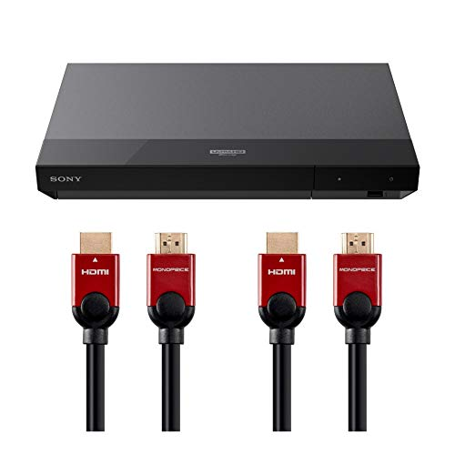 Sony UBP-X700 4K Ultra HD Blu-ray Player with Dolby Vision with Two 6 ft. High Speed HDMI Cable and DVD Lens claner