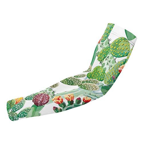 Rterss Cactus Vector Naadloos Patroon Exotische Behang Arm Guard Mouwen Zonbescherming Warm Unisex Outdoor Sport (1 paar) Aangepast