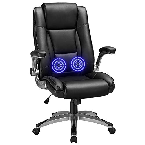 Kealive High Back Executive Office Chair 400 lbs, Leather Massage Computer Desk Chair with Flip-up Arms, Ergonomic Adjustable Tilt Angle Swivel Chair with Comfort Lumbar Support Thick Padding, Black