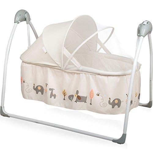 Babyschaukel/Babybett (vollautomatisch 240V) mit 5 Schaukelgeschwindigkeiten, 12 Melodien & 3 Timer (Inklusive: Matratze & Baldachin mit Moskitonetz) (Beige)