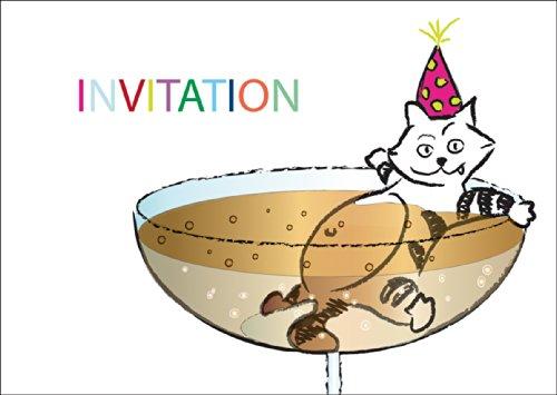 Vrolijke party uitnodigingskaart met grappige in champagne baden kat: INVITATIE • ook voor direct verzenden met uw persoonlijke tekst als inlegger. • Vier met vrienden en familie de mooiste momenten van het leven.