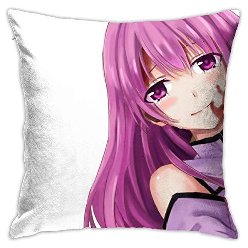 CVDGSAD Anime Niñas Fondo Simple Akame Ga Kill Schere Funda de cojín decorativa rectangular para almohada tamaño Queen