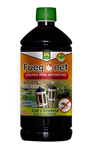FUEGO NET Fuegonet 231204 Liquido para antorchas, Negro, 7.2x27x7.2 cm