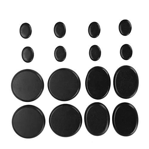 Juego de piedras de masaje caliente, suaves y naturales, para spa, en forma de círculo u ovaladas, de basalto negro, para aceites esenciales, origen volcánico, 16 unidades/caja