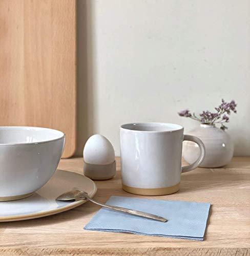 Frühstücks-Set weiß glasiert und dicht gebrannt