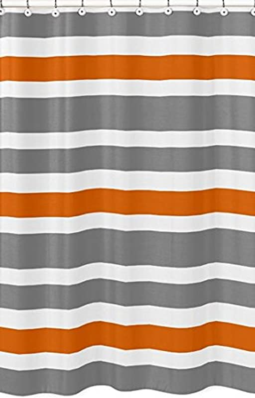 Sweet Jojo Designs Gray Orange And White Kids Bathroom Fabric Bath Teen Stripe Shower Curtain
