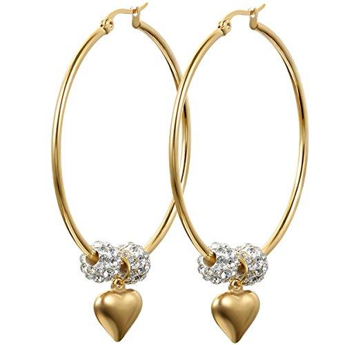JewelryWe Schmuck Damen Ohrringe, Edelstahl Strass Kugel große Creolen Ohrstecker mit Herz Anhänger, Weiss Gold