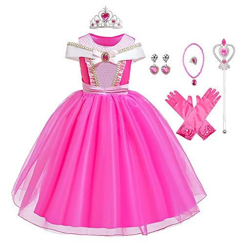 MYRISAM Vestidos de Princesa Aurora para Niñas Disfraz de Carnaval Bella Durmiente Traje de Halloween Navidad Cumpleaños Fiesta Ceremonia Aniversario Cosplay Vestir con Accesorios 4-5 años