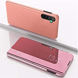 Custodia® Mirror Plating Clear View Stand Function Flip Case for OPPO Reno Ace/OPPO Realme X2 Pro (Rose Gold)