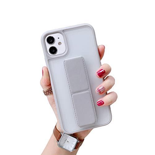 QfireQ Funda TPU Case Compatible con iPhone 12/12 Pro/12 Pro Max/12 Mini Tapa Trasera Magnética Correa De Mano De Cuero/Soporte Cover de PC translúcida esmerilada Antideslizante,Gris,12
