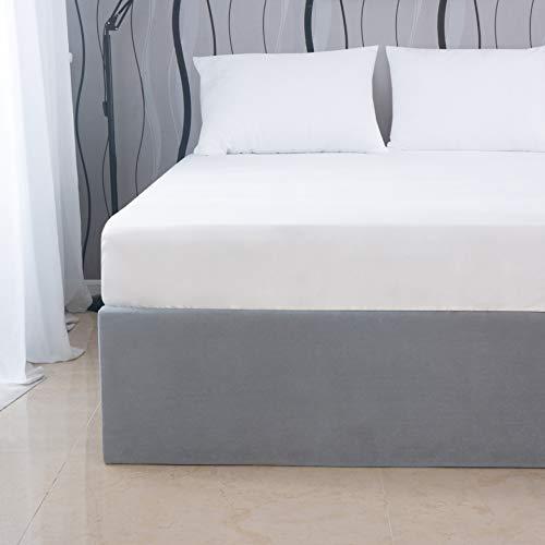 Mohap Spannbettlaken, 140 x 190/200 cm, 110 Fäden/cm², weiß, mit Umschlag 30 cm, aus Mikrofaser, für dicke Matratzen, ausziehbares Bettlaken, Weiß