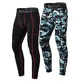 ZENGVEE 2 Piezas Leggings Hombre Pantalón de Compresión Secado Rápido Pantalón Mallas Largo Hombre Deporte para Running Fitness(1818) Black Camo-M