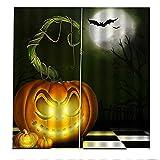 Cortinas Decorativas 3D Lámpara De Calabaza De Halloween Impresión Aislamiento Acústico Y Protección Uv Sala De Estar Dormitorio Balcón Habitación De Los Niños Cortinas Decorativas 2xW110xH215cm