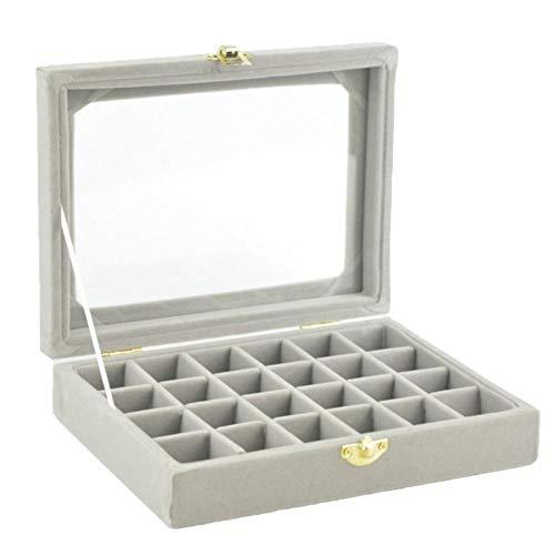 BIGBOBA Caja de Regalo Madera Rectángulo Pequeñas Compartimento Joyas Almacenaje Expositores Envases Boda Anillo Pendientes Organizador Case para Estuche de Compromiso Cumpleaños