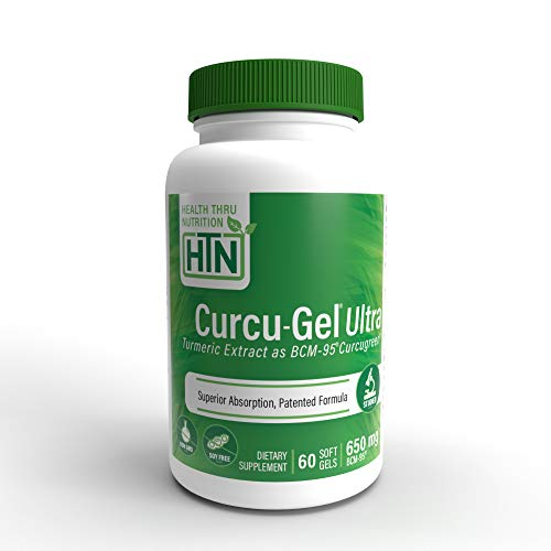 Curcu-Gel Ultra 650 mg BCM-95 (CURCUGREEN) Enhanced Absorption Bio-Curcumin Complex (500mg Total Curcuminoids with Essential Oils of Turmeric Rhizome) 60.