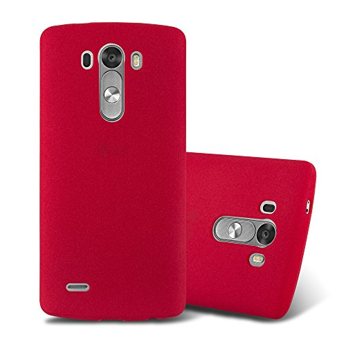 Cadorabo Hülle für LG G3 - Hülle in Frost ROT – Handyhülle aus TPU Silikon im matten Frosted Design - Silikonhülle Schutzhülle Ultra Slim Soft Back Cover Case Bumper