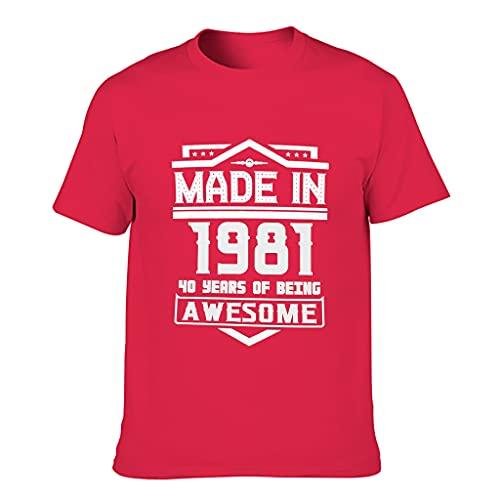 Herren Hergestellt 1981 Baumwoll-T-Shirt Bunt Atmungsaktiv - Shirt for Fitness red1 S