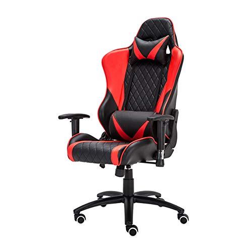 Silla de juego de escritorio con respaldo alto ajustable, silla, reposabrazos de elevación y rotación de piel sintética, tablero grueso antideflagrantes, patas de nailon, rueda silenciosa de poliuretano