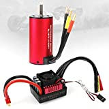 3670 2150KV 5mm Sensorless Brushless Motor with 80A Splashproof ESC (Electric Speed Controller) for 1/8 RC Off-Road Cars by RCRunning(Red)