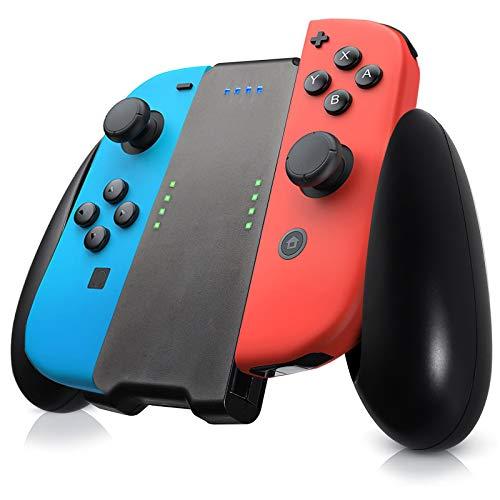AUTOUTLET Cargador para Joycon Soporte de Carga Mango Recargable para Nintendo Switch Joy Con, con Batería de Lones de Litio Recargable de 1500 mAh, Agarre Cómodo, para Gamepad Switch Joy Con