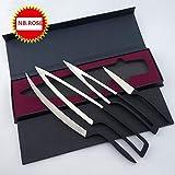 DEGLON MEETING 4PC Set 5Cr17Mov Stainless steel Deglon Meeting Knife - Unique Design - Black handle