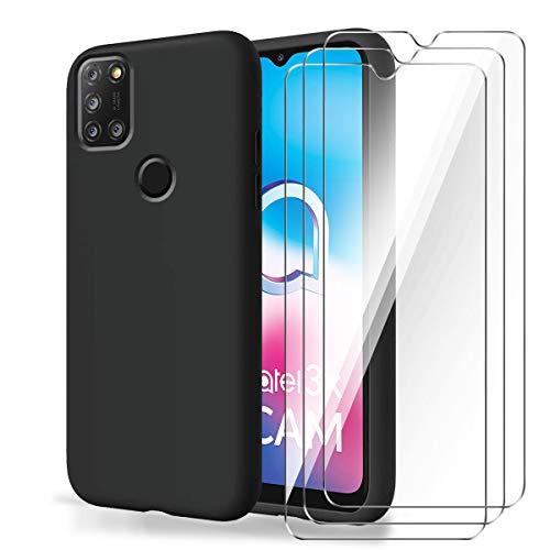 Brands LJSM Hülle für Alcatel 3X 2020 + [3 Stück] Panzerglas Bildschirmschutzfolie - Schwarz Weich Silikon Schutzhülle Flexibel TPU Tasche Hülle für Alcatel 3X 2020 (6.52