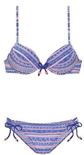 Buffalo Damen Push Up Bügel Bikini (Blau, 38A)