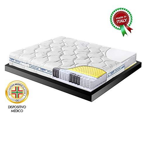 Goldflex Materasso Adattabile Memory 3000 Matrimoniale 160x190 + Molle Insacchettate + Micromolle Zone + Fascia 3D Ioni Argento Garanzia 10 Anni Certificato Dispositivo Medico Made in Italy