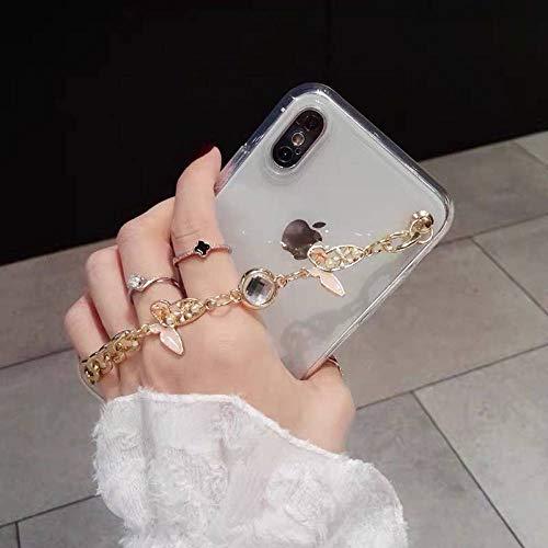 Linda Caja del teléfono con Cadena de Pulsera de Diamantes de imitación de Mariposa 3D para iPhone 12 11PRO X XR XS MAX 6S 7 8 Plus Funda de Lujo Transparente Suave, 1, para iPhone 6 6s