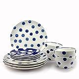 Conjunto vajillas porcelana 12 piezas moderna colores (4 personas) (AZUL LUNARES)
