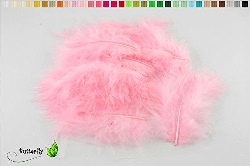 20 Flaumfedern 8-12cm (rosa 148) // Marabufedern Bastelfedern Hühnerfedern Dekofedern Schmuckfedern Federn