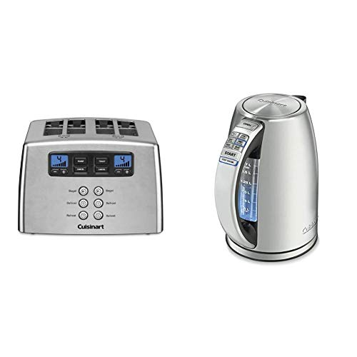 Cuisinart Touch to Toast Leverless toaster, 4-Slice, Brushed Stainless Steel & CPK-17 PerfecTemp 1.7-Liter Stainless Steel Cordless Electric kettle, 1.7 L, Silver