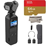 2019 DJI Osmo Pocket Handheld 3 Axis Gimbal with Integrated 4K Camera Bundle, Comes 64GB Extreme Micro SD