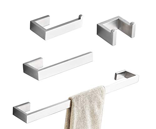 Towel Bar Set, 4Pcs Bathroom Hardware Accessory Set Brushed Nickel, SUS304 Stainless Steel Bath Hardware Set, Towel Rod with Toilet Paper Holder, Towel Bar and Double Robe Hook.