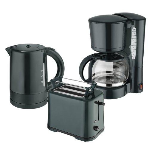 Efbe-Schott Frühstücksset WK 1080 + TO 1080 + KA 1080 Wasserkocher 1 L, Toaster und Kaffeemaschine 1,25 L Dunkelgrün