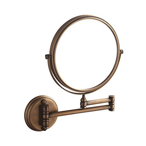 CBXSF Alle koperzwarte make-upspiegel Europese retro bad flip telescoop 8 inch inklapbare make-up spiegel toilet vergrootglas badaccessoires Antieke kleur