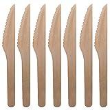 200 Premium Cuchillos Desechables de Madera 16.5cm, Cubiertos de Madera - Ecológico, Biodegradable, Compostable, 100% Natural - Robusto y Resistente - Postre Fiestas BBQ Picnics Cumpleaños Navidad.