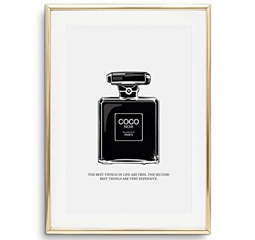 Tales by Jen Kunstdruck, Sprüche Poster: Coco Noir Perfume Bottle Illustration | Stilvolles Premium Poster auf hochwertigem Papier | Moderne Wand Deko, Schwarz Weiß Home Interior | Ohne Bilderrahmen