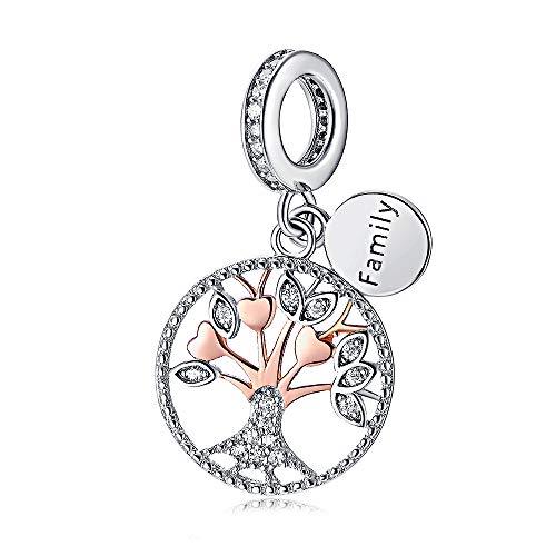 Abalorio de plata de ley 925 con diseño de árbol de la vida familiar, colgante, de oro rosa, para mujer