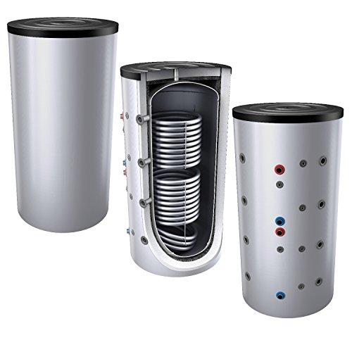 1000L Pufferspeicher/Heizungsspeicher - Warmwasserspeicher für Heizungswasser, mit 2 Wärmetauschern (auch als Solarspeicher geeignet), inkl. Isolierung. Für Trinkwasser siehe emaillierte EWS8B Reihe