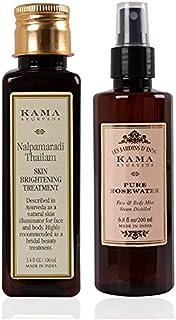 Kama Ayurveda Pure Rose Water Face and Body Mist, 6.7 Fl Oz & Kama Ayurveda Nalpamaradi Skin Brightening Treatment, 100ml