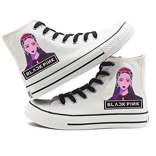 LXYA KPOP Blackpink Caracteres de Dibujos Animados Impresos Zapatos de Lona...